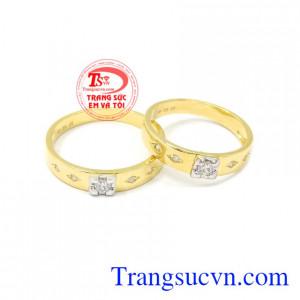 Nhẫn cưới vàng bên nhau trọn đời được nhập khẩu từ Korea vàng 10k.