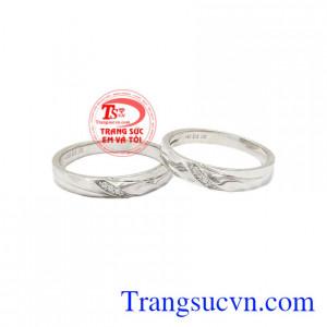 Nhẫn cưới vàng trắng tinh tế