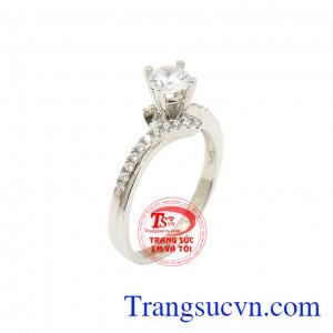Nhẫn vàng trắng kiêu sa
