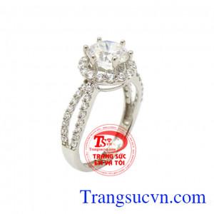 Nhẫn vàng trắng quý phái