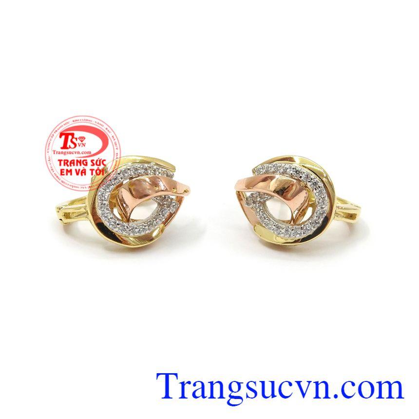 Hoa tai vàng sang trọng tinh tế vàng 18k chế tác tinh xảo, đặc sắc và thời trang