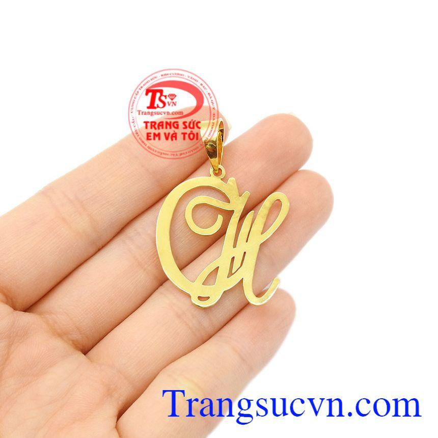 Mặt dây vàng chữ CH vàng 18k bảo hành uy tín.