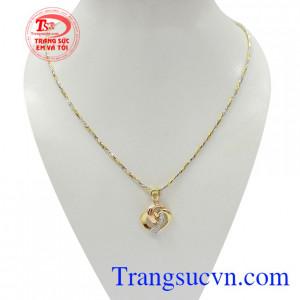 Bộ dây chuyền nữ trái tim tình yêu vàng 18k kết hợp giữa dây chuyền Italy bện 2 màu và mặt dây 3D tinh xảo, sắc nét