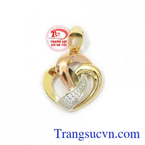Mặt dây nữ trái tim tinh tế 18k