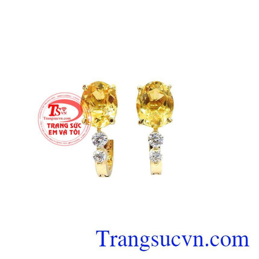 Hoa tai nữ vàng thạch anh vàng