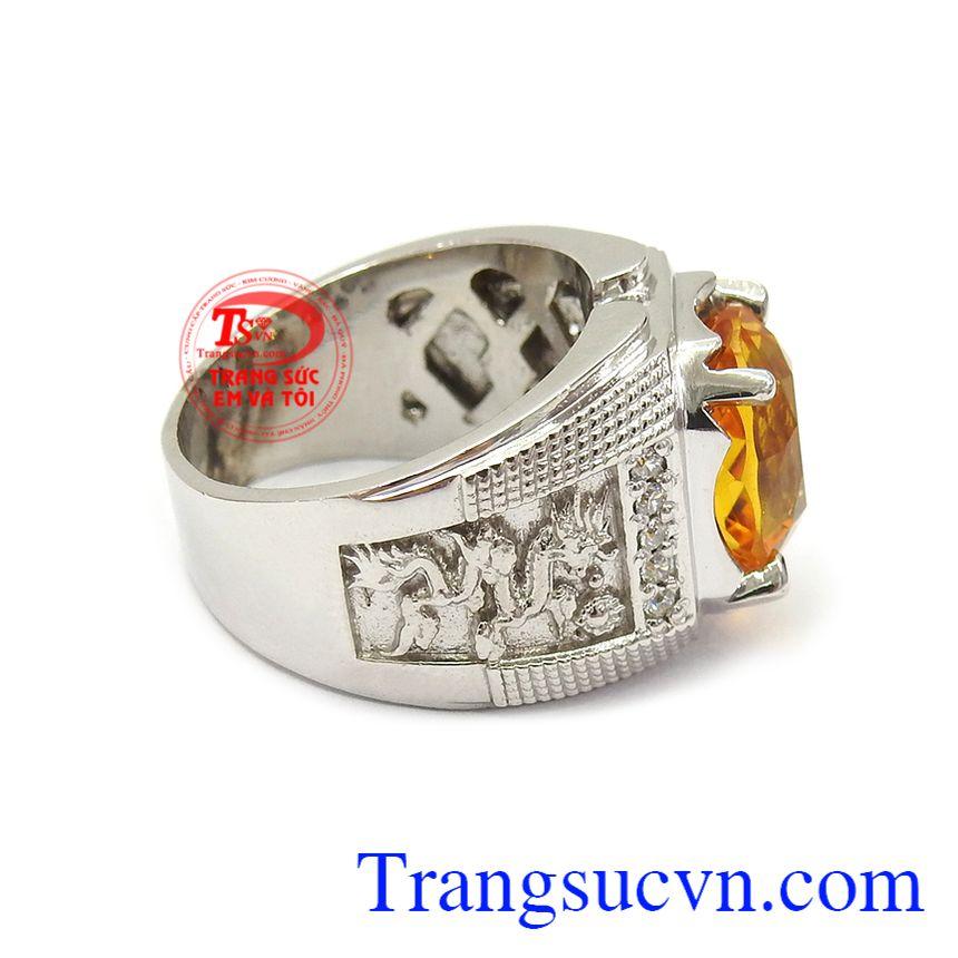 Nhẫn bạc thạch anh vàng đẳng cấp là món quà ý nghĩa cho người yêu thương