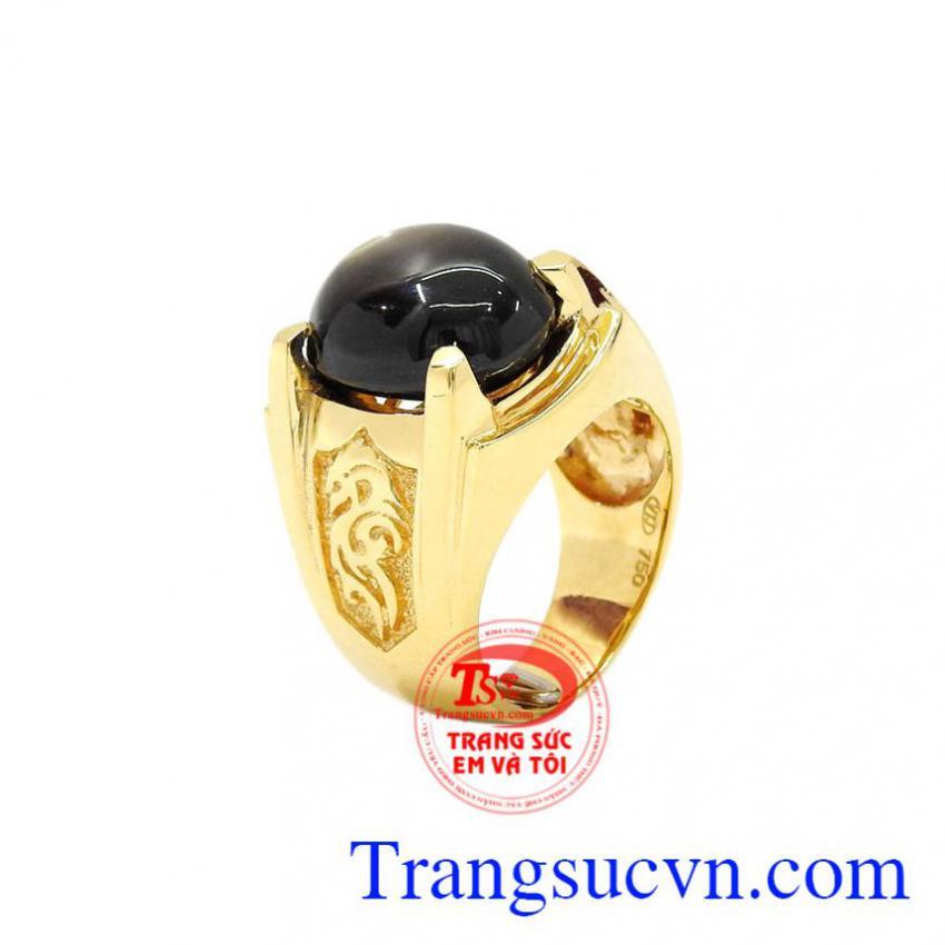 Nhẫn nam vàng Sapphire sao độc đáo