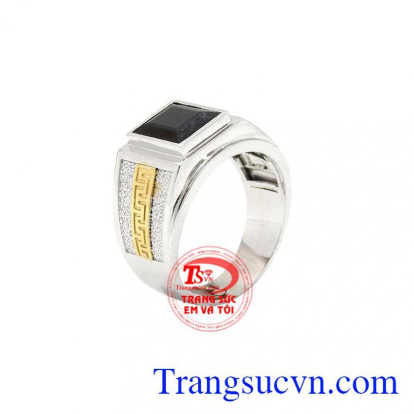 Nhẫn nam vàng trắng Sapphire nổi bật