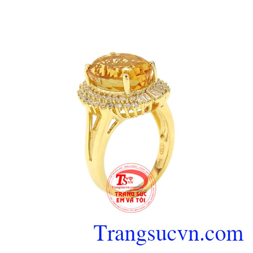 Nhẫn nữ thạch anh vàng ấn tượng