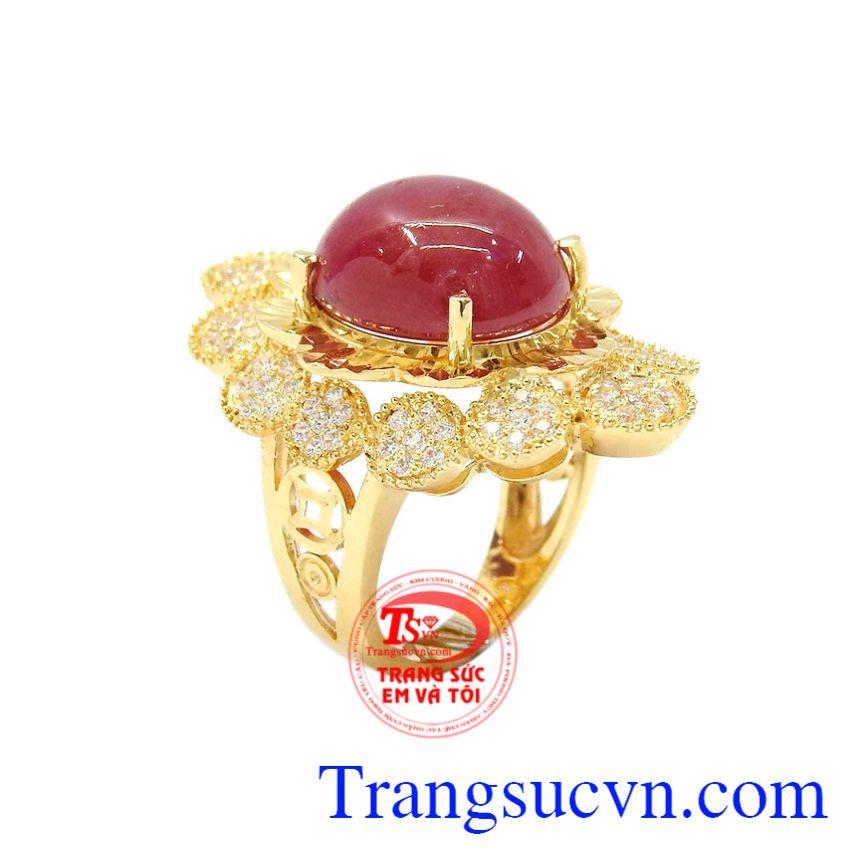 Nhẫn nữ vàng Ruby sao độc đáo