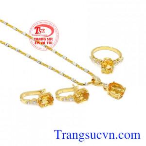 Bộ trang sức vàng nữ Citrine