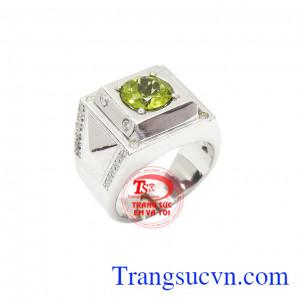 Nhẫn bạc nam Peridot được thiết kế 3D sang trọng, thời trang đính kèm đá Peridot thiên nhiên