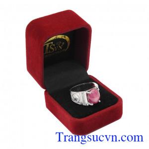 Nhẫn bạc nam Ruby đẹp