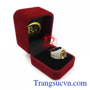 Nhẫn bạc thạch anh vàng đẳng cấp uy tín, chất lượng, chế tác theo yêu cầu