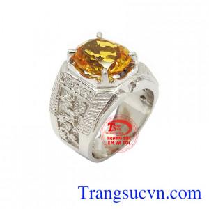 Nhẫn bạc thạch anh vàng đẳng cấp dành cho nam chế tác công nghệ cao cấp, đá thạch anh vàng thiên nhiên màu sắc tươi sáng, tinh xảo