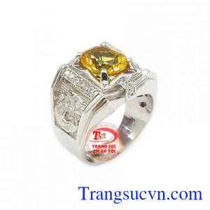 Nhẫn bạc thạch anh vàng mạnh mẽ chế tác công nghệ cao cấp, màu sắc đẹp, chất lượng cao