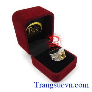 Nhẫn bạc thạch anh vàng mạnh mẽ bền đẹp, chất lượng, giao hàng nhanh trên toàn quốc