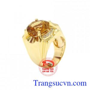Nhẫn nam vàng Citrine đẹp
