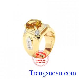 Nhẫn nam vàng Citrine độc đáo