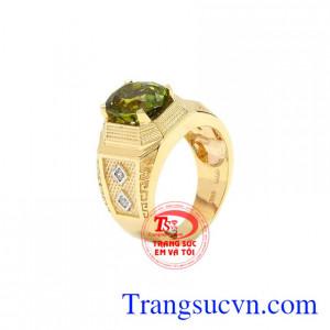 Nhẫn nam vàng Peridot thiên nhiên