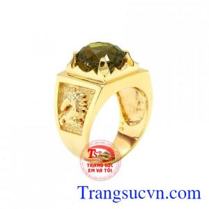 Nhẫn nam vàng Peridot tinh tế