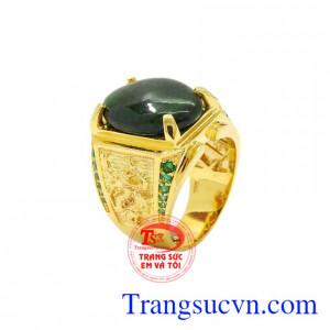 Nhẫn nam vàng tây ngọc cẩm thạch