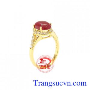 Nhẫn nữ vàng Ruby thiên nhiên