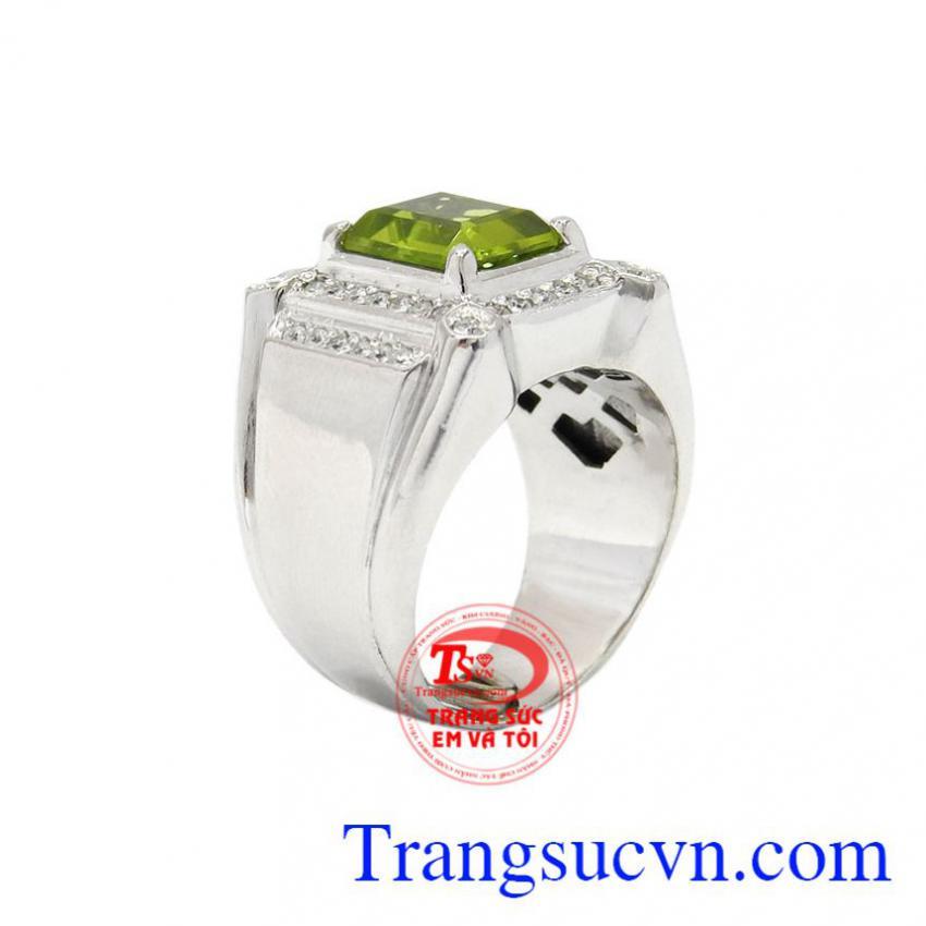 Nhẫn nam bạc Peridot đẹp
