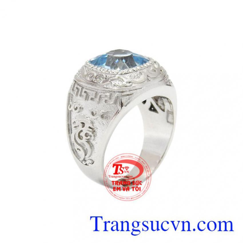 Nhẫn nam bạc Topaz độc đáo