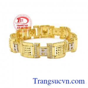 Lắc tay nam vàng chữ H