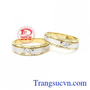 Nhẫn cưới vàng gắn kết