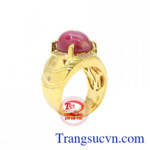 Nhẫn nam vàng Ruby sao chất lượng