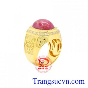 Nhẫn nam vàng Ruby sao đẹp