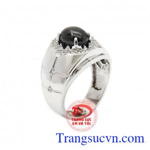 Nhẫn nam vàng trắng Sapphire sao