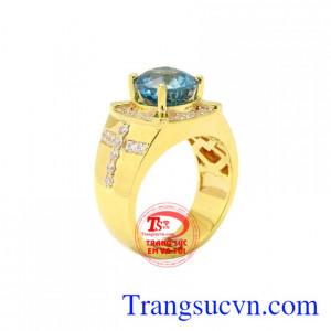 Nhẫn nam vàng Zircon