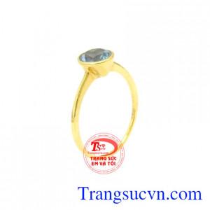 Nhẫn nữ vàng Topaz nhỏ xinh
