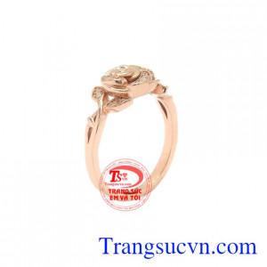 Nhẫn nữ vàng hoa hồng