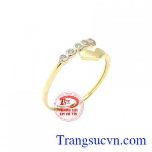 Nhẫn nữ vàng trái tim nhỏ xinh