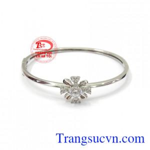 Vòng tay vàng trắng phong cách 10k nhập khẩu nguyên chiếc Korea bền đẹp, chất lượng
