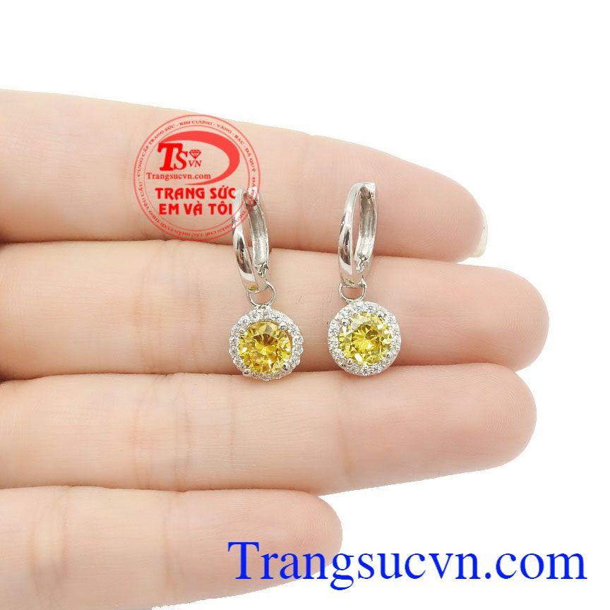 Sản phẩm thích hợp làm quà tặng cho người thân hoặc bạn bè,Hoa tai vàng thạch anh vàng