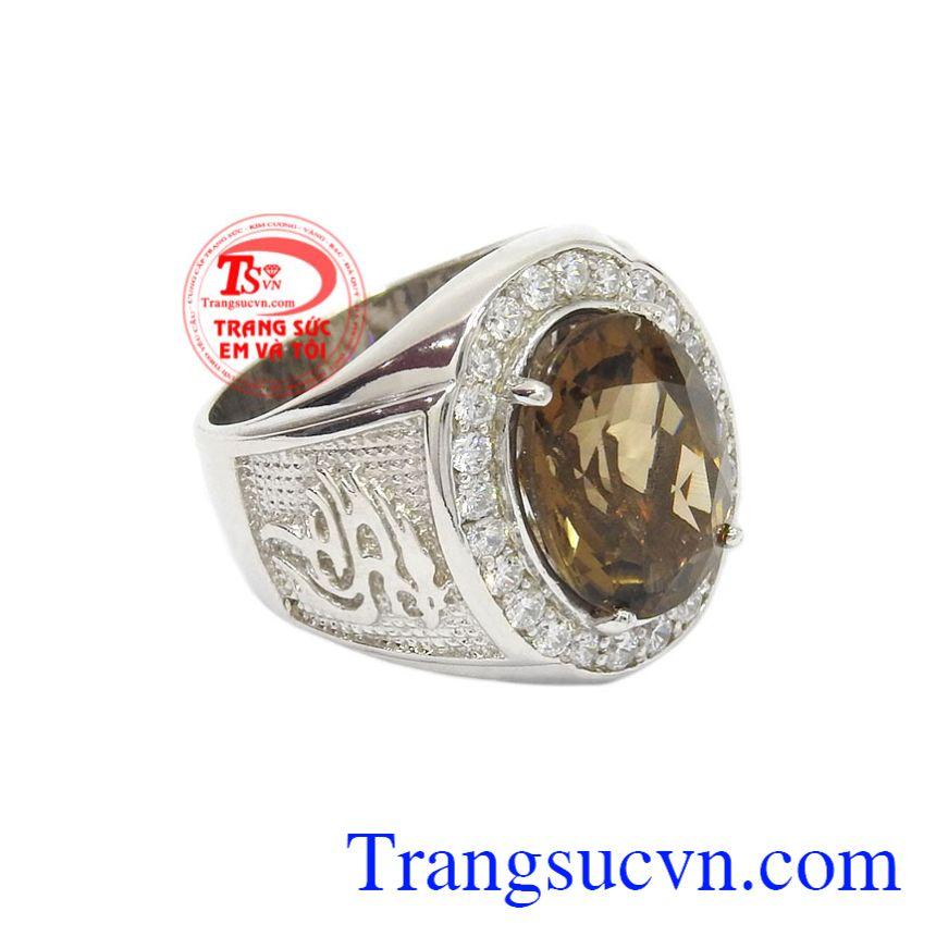 Nhẫn bạc thạch anh khói hợp thời trang cho phái mạnh.