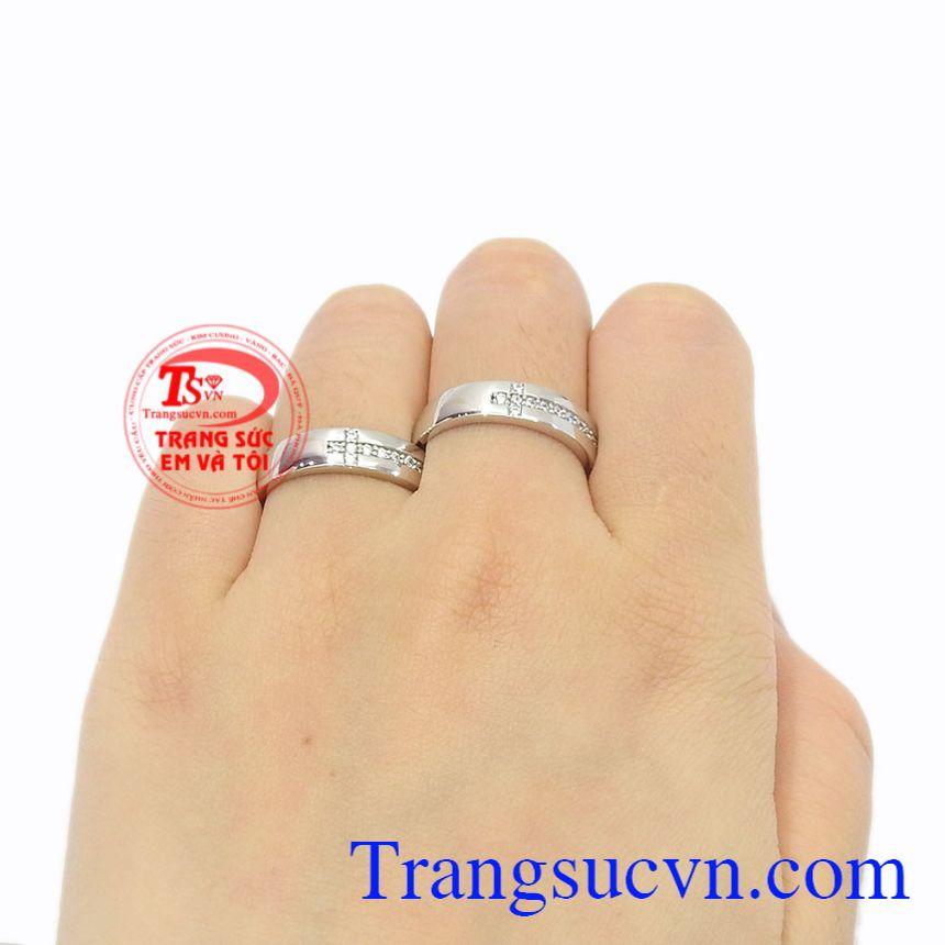 Nhẫn cưới vàng trắng trơn