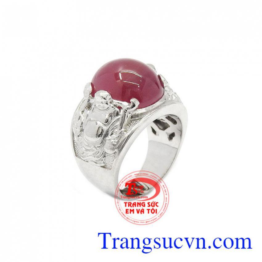 Nhẫn nam bạc Ruby thiên nhiên