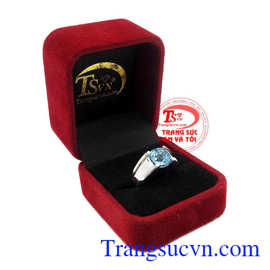 Sản phẩm thích hợp làm quà tặng cho người thân hoặc bạn bè,Nhẫn nam bạc Topaz mạnh mẽ
