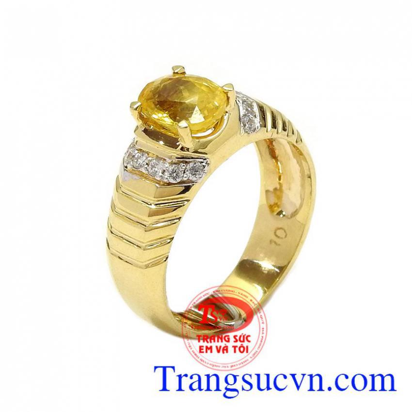 Nhẫn nam Sapphire vàng tài lộc