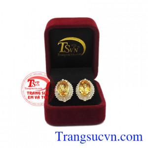 Hoa tai thạch anh vàng ấn tượng được bảo hành uy tín, giao hàng toàn quốc.