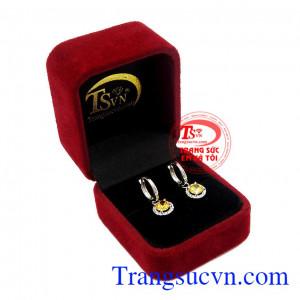 Hoa tai vàng thạch anh vàng úy tín, chất lượng, giao hàng toàn quốc,Hoa tai vàng thạch anh vàng