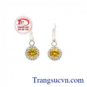 Hoa tai vàng thạch anh vàng được chế tác từ đá thạch anh vàng thiên nhiên kết hợp với vàng 14k,Hoa tai vàng thạch anh vàng