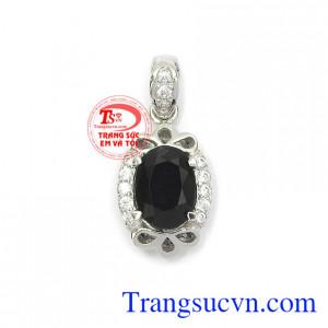 Mặt dây Sapphire cát khí vàng trắng 14k màu sắc tươi sáng, chế tác tinh xảo, chất lượng đá đảm bảo