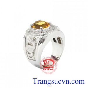 Nhẫn bạc thạch anh vàng chất lượng